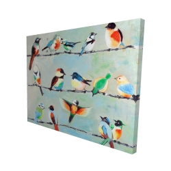 Canvas 48 x 60 - 3D - Small abstract colorful birds