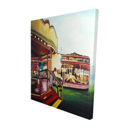 Canvas 48 x 60 - 3D - Carousel in a carnaval
