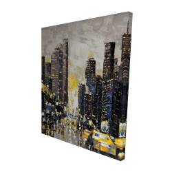 Canvas 48 x 60 - 3D - Abstract and texturized city with yellow taxis