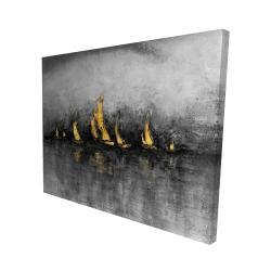 Canvas 48 x 60 - 3D - Gold sailboats