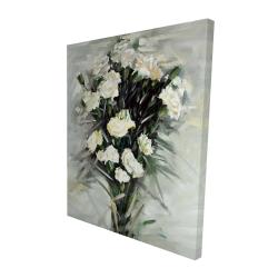 Canvas 48 x 60 - 3D - Lisianthus white bouquet