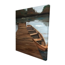 Canvas 48 x 60 - 3D - Lake, dock and boat
