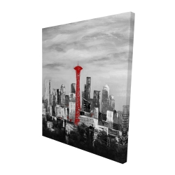 Canvas 48 x 60 - 3D - Space needle in red