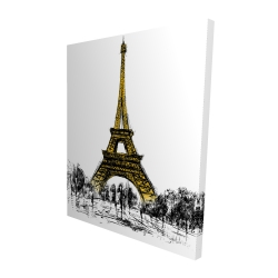 Canvas 48 x 60 - 3D - Outline of eiffel tour