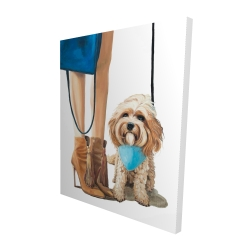 Canvas 48 x 60 - 3D - Fashionable cavoodle dog
