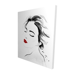 Canvas 48 x 60 - 3D - Right side watercolor serenely lady portrait