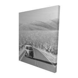 Canvas 48 x 60 - 3D - Car on the road