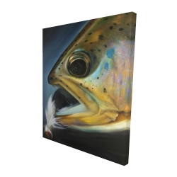Canvas 48 x 60 - 3D - Golden trout with fly fishing flie