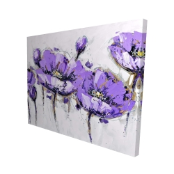 Canvas 48 x 60 - 3D - Abstract purple flowers