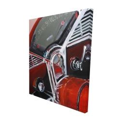 Canvas 48 x 60 - 3D - Vintage red car dashboard