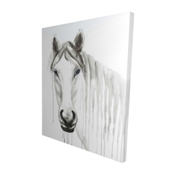 Canvas 48 x 60 - 3D - Solitary white horse