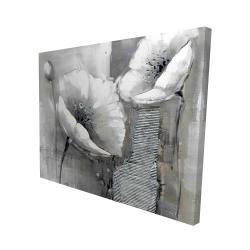 Canvas 48 x 60 - 3D - Industrial monochrome flowers