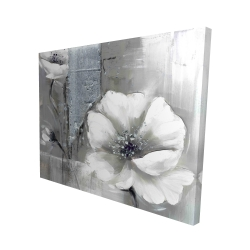 Canvas 48 x 60 - 3D - Monochrome and silver flowers
