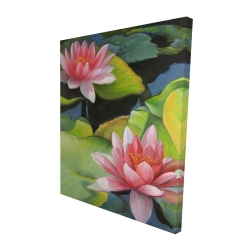 Canvas 48 x 60 - 3D - Water lilies and lotus flowers