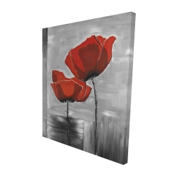 Canvas 48 x 60 - 3D - Two red flowers on a grayscale background