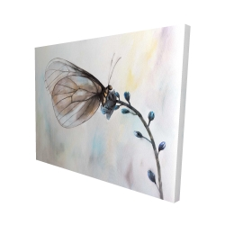 Canvas 48 x 60 - 3D - Butterfly on blue flowers