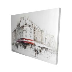 Canvas 48 x 60 - 3D - White street with red accents