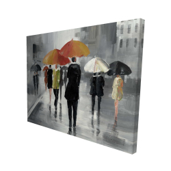 Canvas 48 x 60 - 3D - Street scene with umbrellas