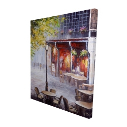 Canvas 48 x 60 - 3D - Outdoor restaurant by a nice day
