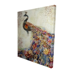 Canvas 48 x 60 - 3D - Majestic peacock