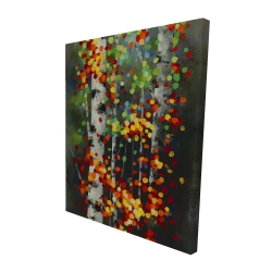 Canvas 48 x 60 - 3D - Colorful dotted leaves birches
