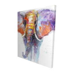 Canvas 48 x 60 - 3D - Colorful walking elephant