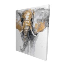 Canvas 48 x 60 - 3D - Golden elephant