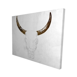 Canvas 48 x 60 - 3D - Bull skull with brown horns