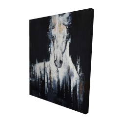 Canvas 48 x 60 - 3D - Abstract white horse on black background