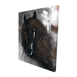 Canvas 48 x 60 - 3D - Dark brown horse