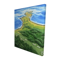 Canvas 48 x 60 - 3D - Island overhead view with waves