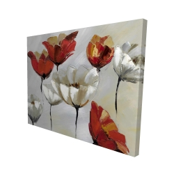 Canvas 48 x 60 - 3D - Abstract red and white flowers