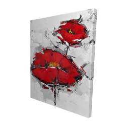 Canvas 48 x 60 - 3D - Texturized red poppies