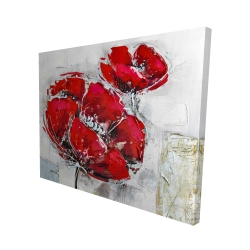 Canvas 48 x 60 - 3D - Abstract and texturized red flowers