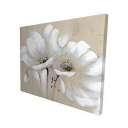 Canvas 48 x 60 - 3D - White abstract wild flowers