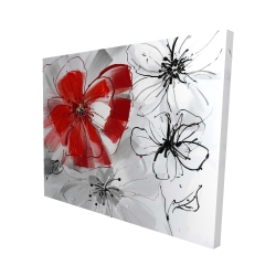 Canvas 48 x 60 - 3D - Red & gray flowers