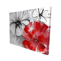Canvas 48 x 60 - 3D - Red & white flowers sketch