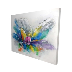 Canvas 48 x 60 - 3D - Abstract flower with newspaper