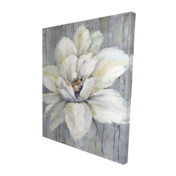 Canvas 48 x 60 - 3D - White flower on wood