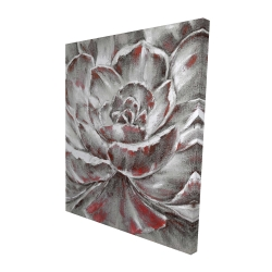 Canvas 48 x 60 - 3D - Gray and pink flower