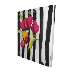 Canvas 48 x 60 - 3D - Pink flowers on black stripes