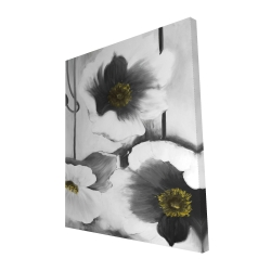 Canvas 48 x 60 - 3D - Black and white flowers