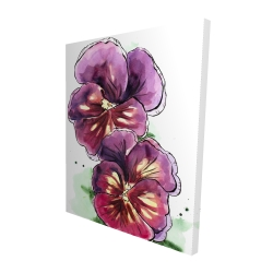 Canvas 48 x 60 - 3D - Two blossoming orchid with wavy petals