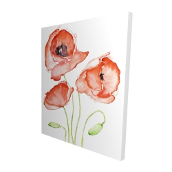 Canvas 48 x 60 - 3D - Watercolor poppies