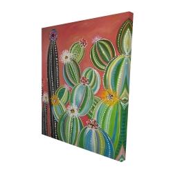 Canvas 48 x 60 - 3D - Rainbow cactus