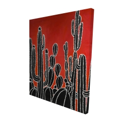 Canvas 48 x 60 - 3D - Black tall cactus