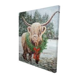 Canvas 48 x 60 - 3D - Highland christmas cow