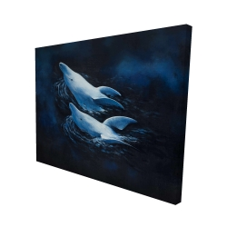 Canvas 48 x 60 - 3D - Two swimming dolphins