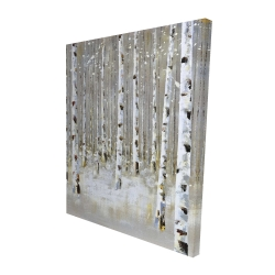 Canvas 48 x 60 - 3D - Birch forest by winter