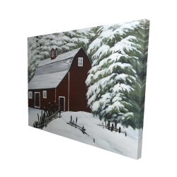 Canvas 48 x 60 - 3D - Red barn in snow